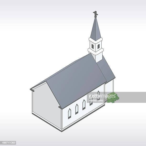 white church illustration - steeple stock illustrations, clip art, cartoons, & icons