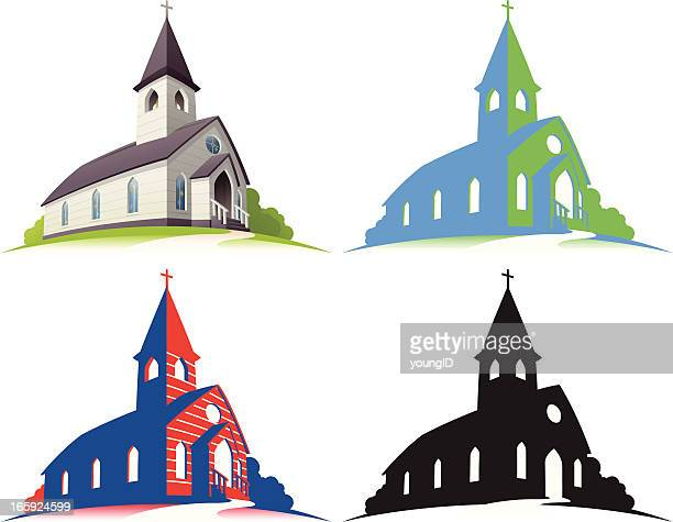white church - church stock illustrations