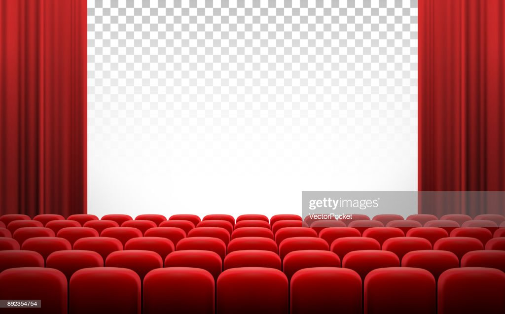 White cinema theatre screen with red curtains and chairs