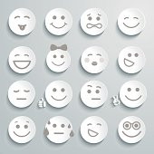 16 white circles containing different emotional expressions
