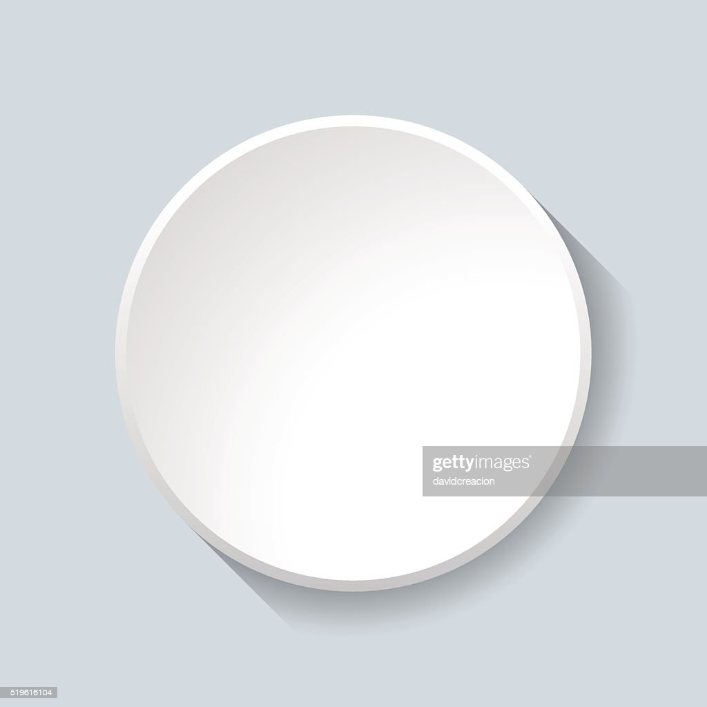 White Circular Plastic Button on Grey Background.