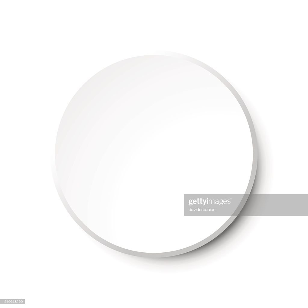 White Circular Plastic Button on White Background.