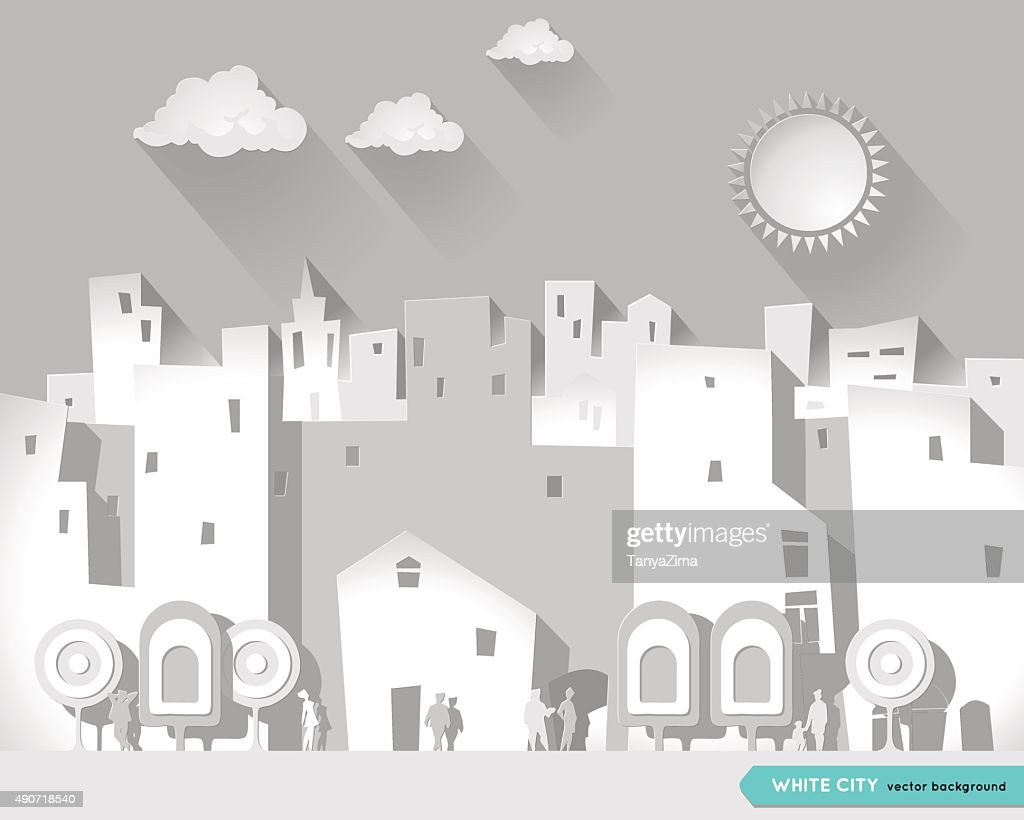 White city. Cartoon style. Postcard. Poster.  Urban city Background.