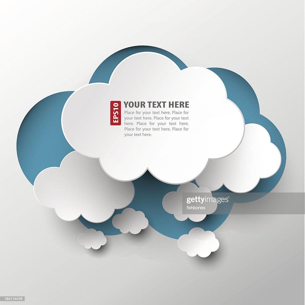 Branco nuvem cortes, disposto em Nuvem Azul : Ilustração