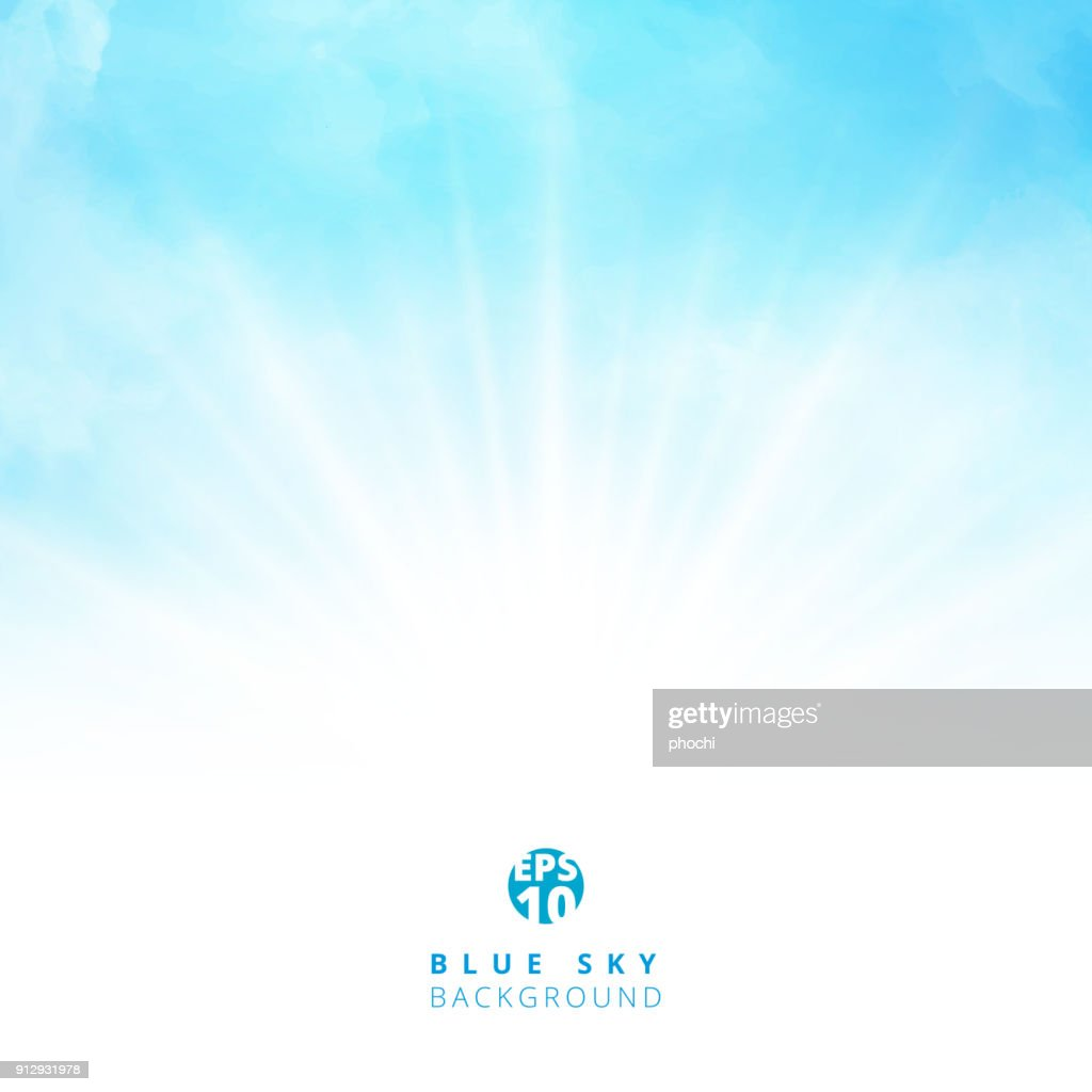 White cloud detail in blue sky with lighting blank copy space for your text