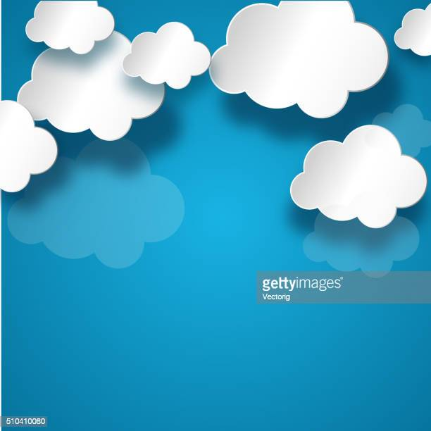 white cloud on blue background - cloudscape stock illustrations, clip art, cartoons, & icons