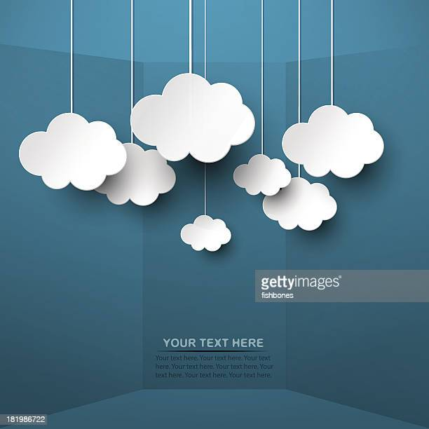white clouds hand from strings on blue background - domestic room stock illustrations, clip art, cartoons, & icons