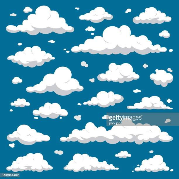 white clouds isolated on dark blue sky - cartoon vector set - overcast stock illustrations