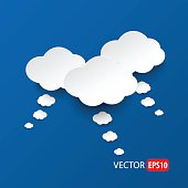 White clouds on sky blue background vector.