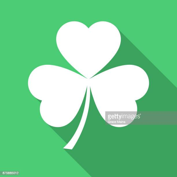 white clove, clover, or clovers icon on green background - vector - luck stock illustrations