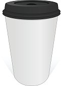 White coffee cup with a black cover.
