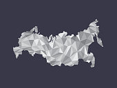 White color Russia low poly vector map with geometric shapes or triangles on black background illustration