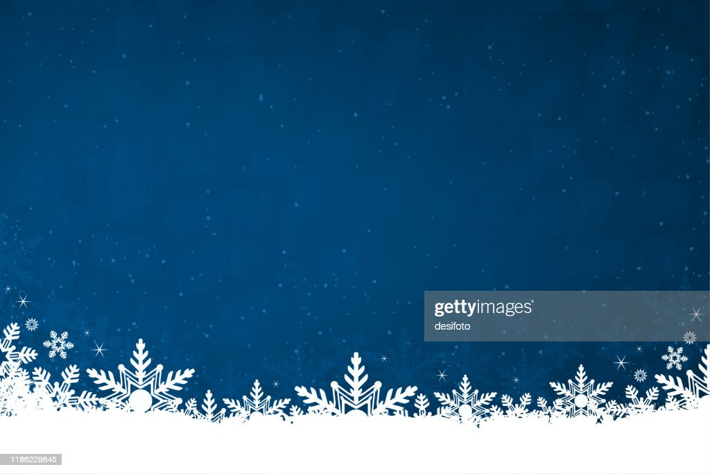 White colored snow and snowflakes at the bottom of a dark blue horizontal Christmas background vector illustration : Stock Illustration