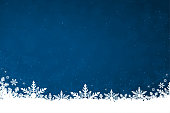 White colored snow and snowflakes at the bottom of a dark blue horizontal Christmas background vector illustration