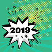White comic bubble with 2019 word on green background. Comic sound effects in pop art style. Vector illustration.