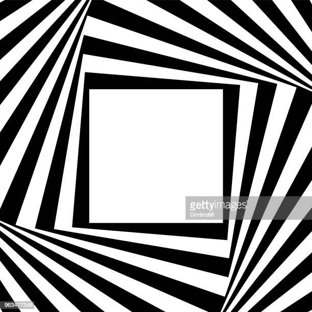 White copy space on a geometric spinning black and white frame