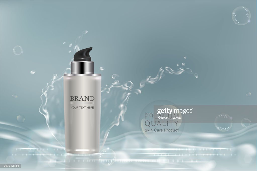 White cosmetic container with advertising background ready to use, liquid splash skin care ad