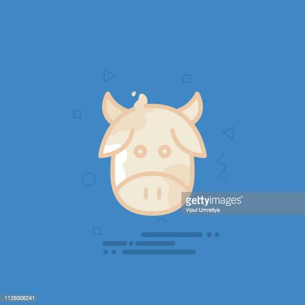 White cow head vector illustration