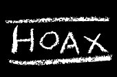 White Crayon Sign Effect - Hoax, at Black Background