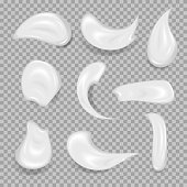 White cream elements. Element for advertising and promotional message. Vector illustration for your design and business
