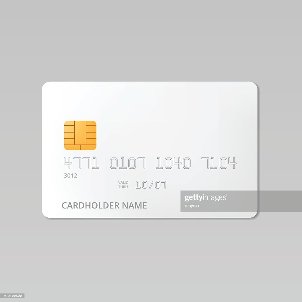 White credit card realistic mockup vector illustration