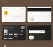 White credit card template with fingerprint authentication