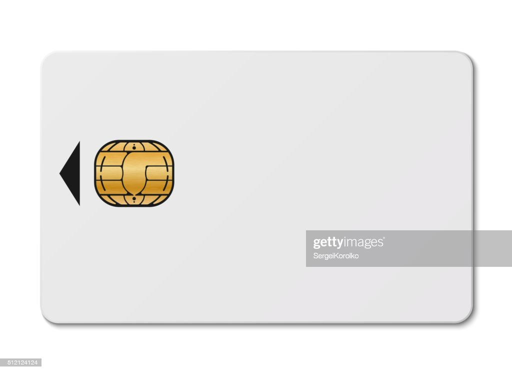 White credit card with chip isolated on white