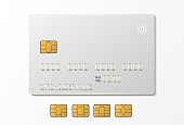 White credit plastic card with emv chip. Contactless payment
