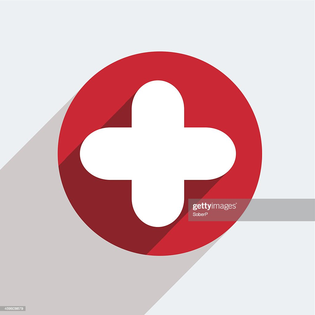 A white cross icon on a red circle
