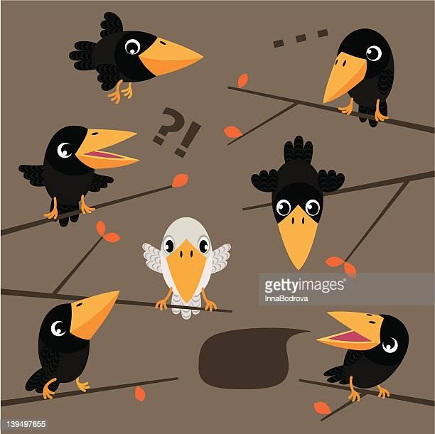 ilustraciones, imágenes clip art, dibujos animados e iconos de stock de blanco crow. - cuervo