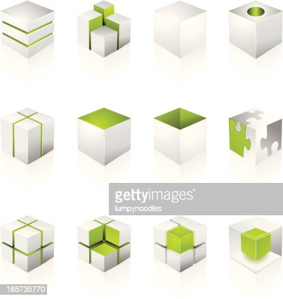 Cubo bianco elementi di design arte vettoriale getty images for Elementi di design