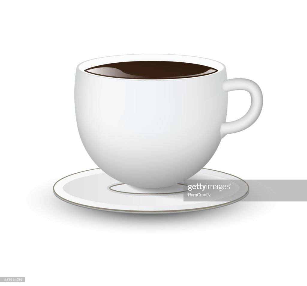 White cup with saucer on white background