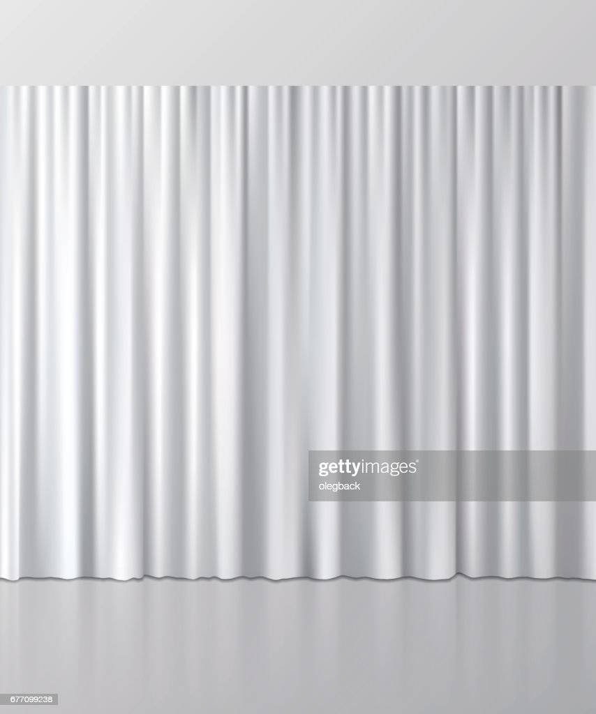 White curtain background. Vector illustration.