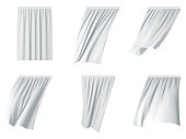 White curtain set vector realistic illustration