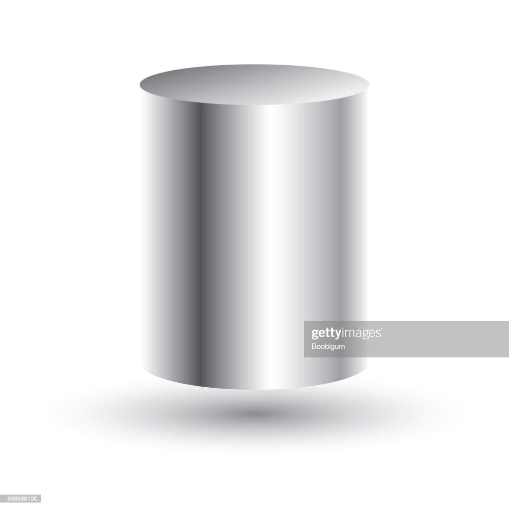 White Cylinder Isolated on White Background.