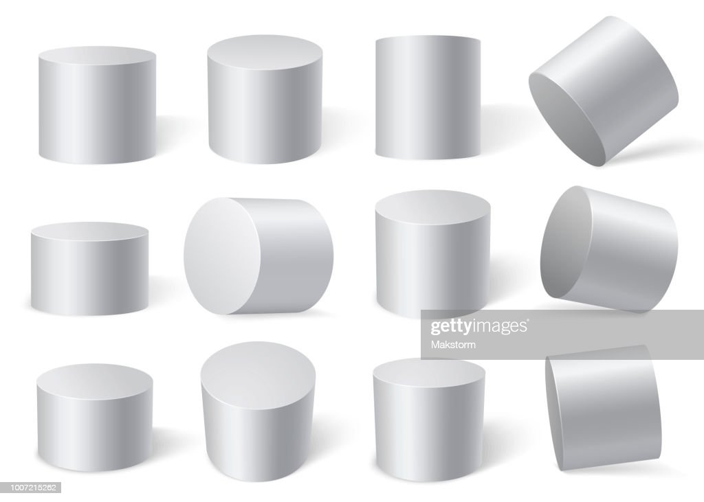 White cylinders on different angles.
