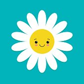 White daisy chamomile with face head. Cute flower plant collection. Love card. Camomile icon. Cute cartoon smiling character. Growing concept. Flat design. Blue background. Vector illustration