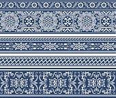 White decorative vintage floral pattern on blue background