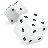 White dice 3d realistic casino gambling game deisgn isolated icon vector illustration