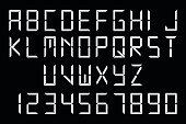 White digital font
