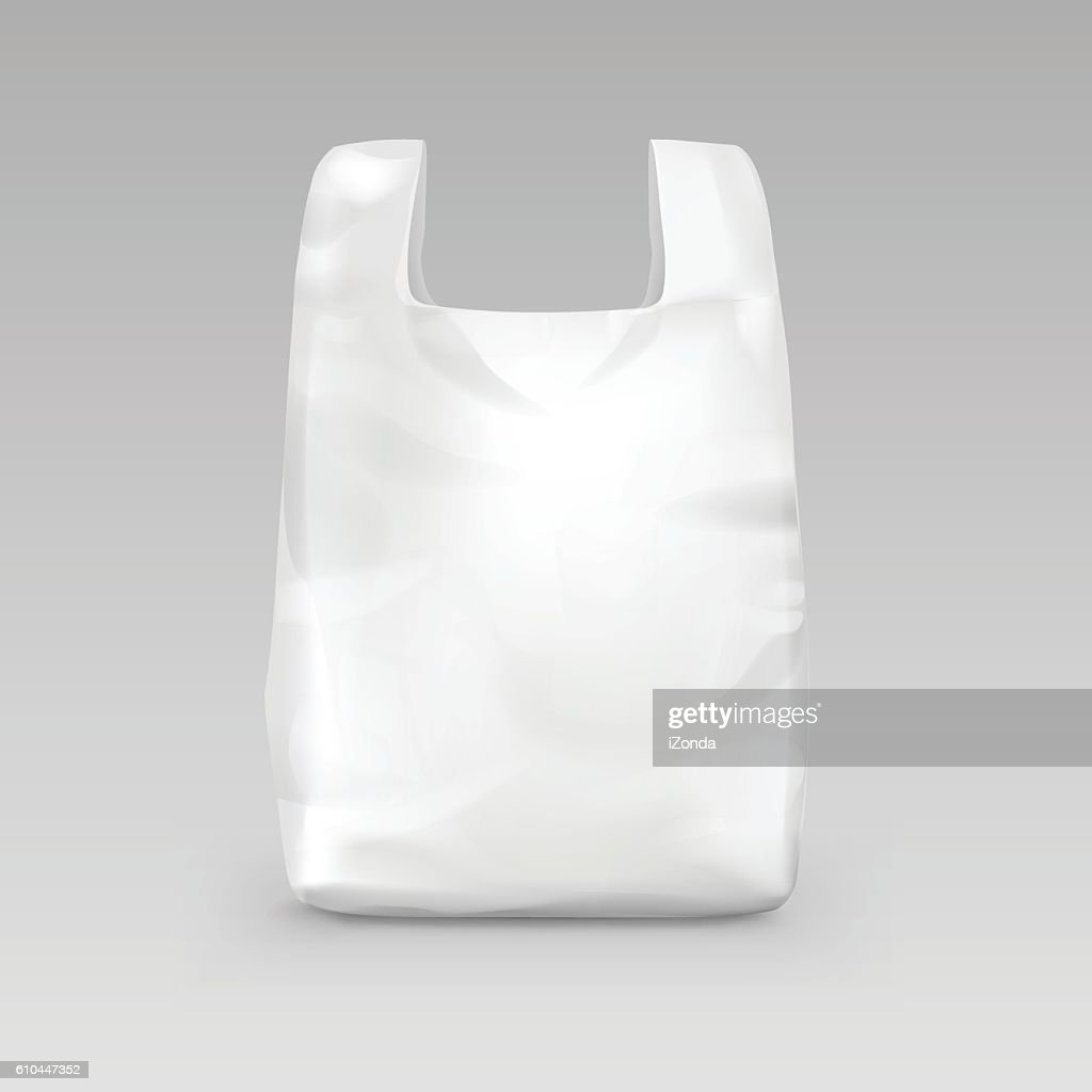 White Disposable Plastic Shopping Bag with Handles Isolated on Background