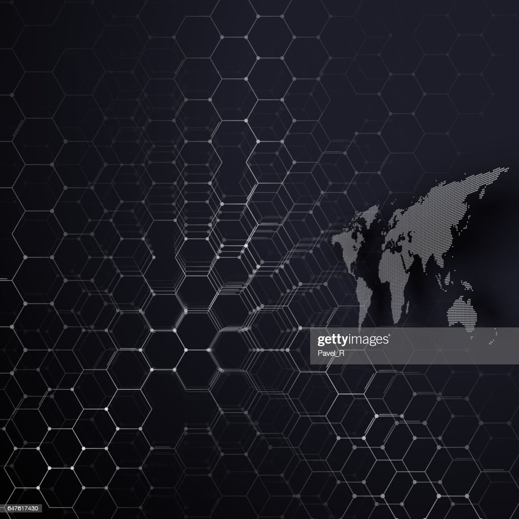 White dotted world map connecting lines and dots on colorful white dotted world map connecting lines and dots on colorful background chemistry pattern gumiabroncs Gallery