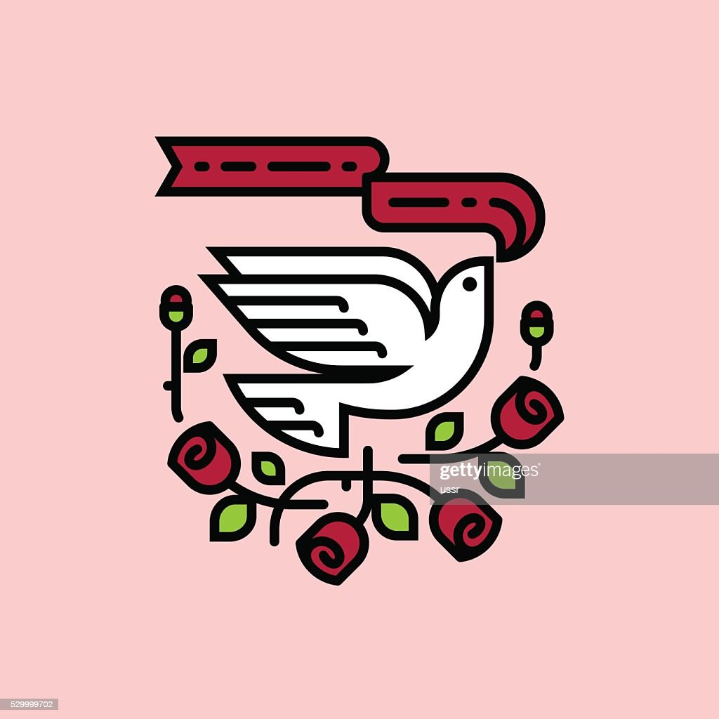 White dove and red roses. American tattoo style vector illustration