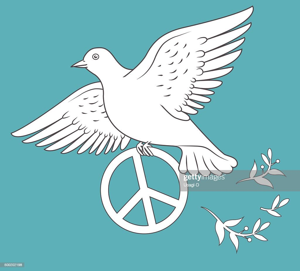White Dove In Flight Holding An Antiwar Sign.
