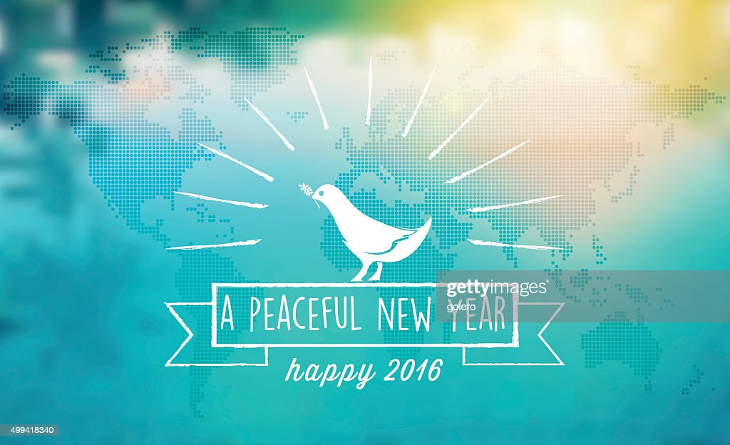 white dove peace symbol with 2016 text on blurred  background