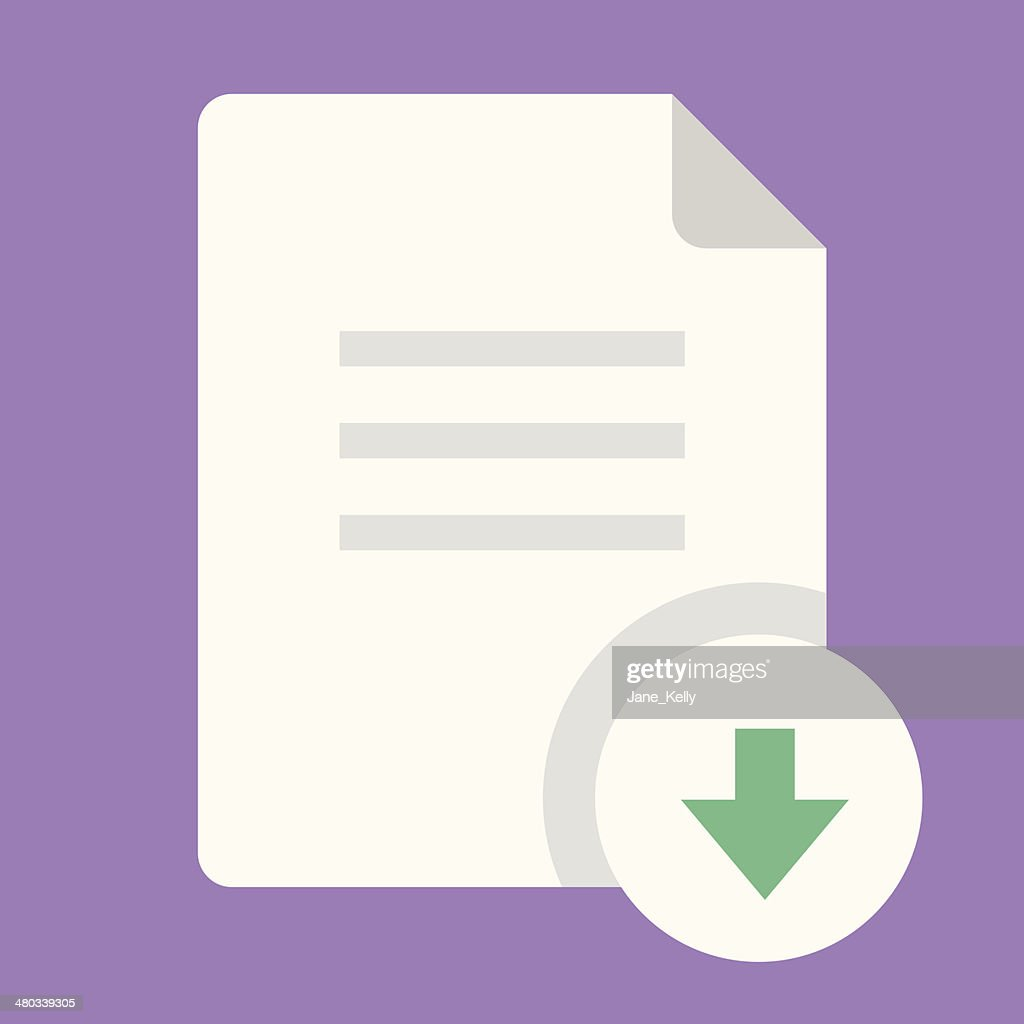 White download document icon with green arrow