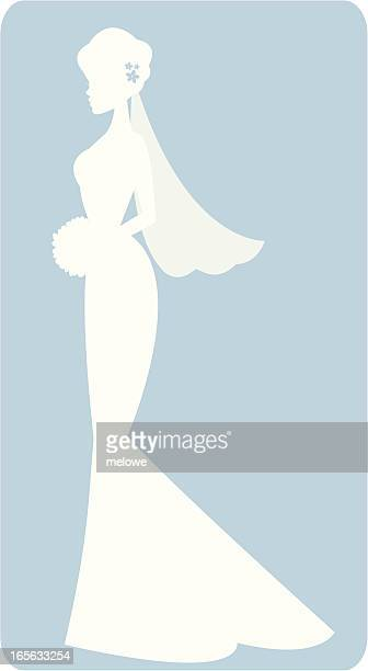 a white drawing of a bride silhouette on a blue background - updo stock illustrations, clip art, cartoons, & icons