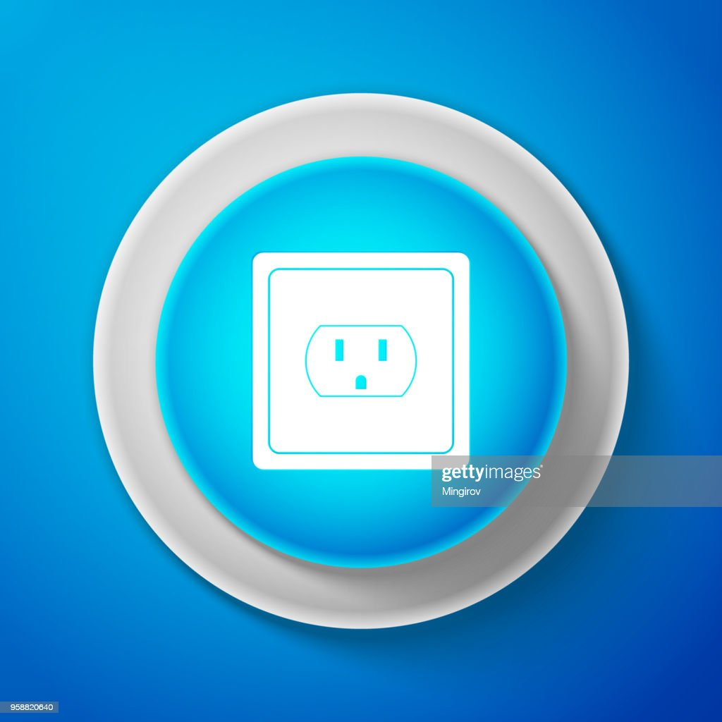 White Electrical outlet in the USA icon isolated on blue background. Power socket. Circle blue button with white line. Vector Illustration