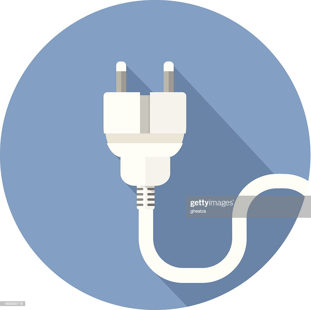 White electrical plug on blue background