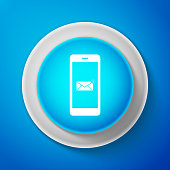 White Email message lock password icon isolated on blue background. Envelope with padlock sign. Private mail and security, secure, protection, privacy symbol. Flat design. Vector Illustration